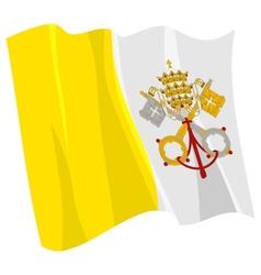 Political waving flag of vatican vector