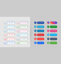 Popular social media lower third banners template vector