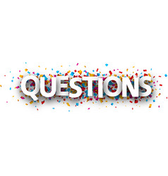 Questions card with colorful confetti vector