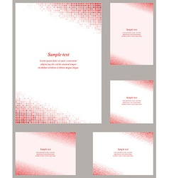Red circle mosaic page corner design set vector