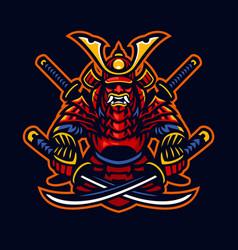 Samurai warrior e-sport mascot style vector