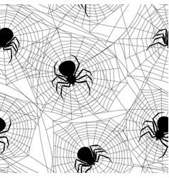 Seamless pattern with black widow spiders vector