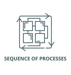sequence processes line icon linear vector image