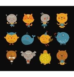 Set cartoon animals vector