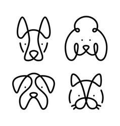 set cat dog line vector image