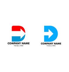 set initial letter d arrow logo design template vector image
