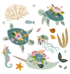 set isolated cute sea animals with flowers vector image