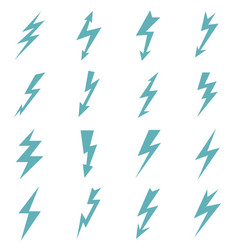 set of blue color lightnings vector image