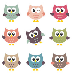set of cute owls isolated on white background vector image