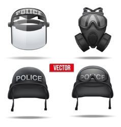 Set of Police helmets and mask vector image