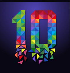 shattered number 10 triangle vector image