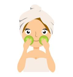 skin care girl having spa facial mask cucumber vector image