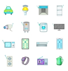Smart home system icons set cartoon style vector