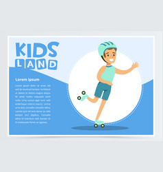 Smiling active boy rollerblading kids land banner vector