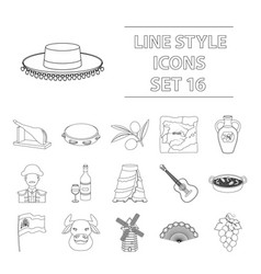 spain country set icons in outline style big vector image