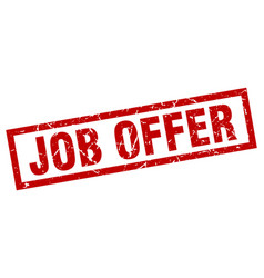 Square grunge red job offer stamp vector