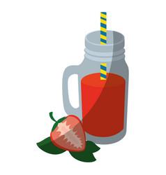 strawberry smoothie icon vector image