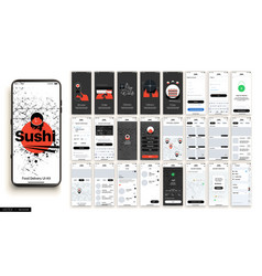 sushi delivery design mobile application vector image