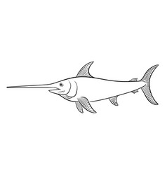 swordfish coloring book vector image