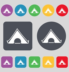 The tent icon sign A set of 12 colored buttons vector image