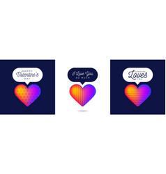 three lovely card valentine rainbow heart like vector image