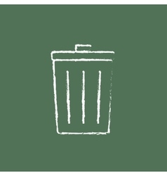 Trash can icon drawn in chalk vector image