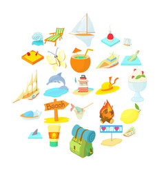 tropical island icons set cartoon style vector image