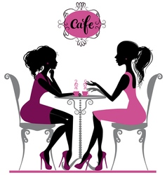 Two girls in cafe vector