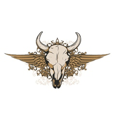 vintage emblem with animal skull vector image