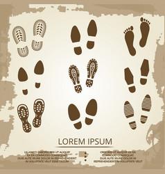 Vintage grunge footsteps poster design vector