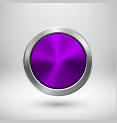 violet technology circle metal badge vector image
