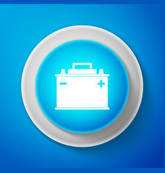 white car battery icon isolated on blue background vector image