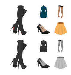 Women high boots coats on buttons stockings with vector