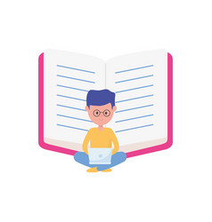young student with laptop and open book learning vector image
