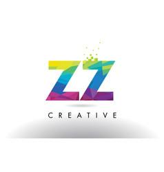 Zz z colorful letter origami triangles design vector