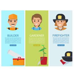 builder gardener and firefighter banners vector image