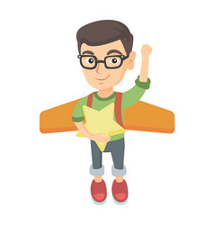 caucasian boy with airplane wings behind his back vector image