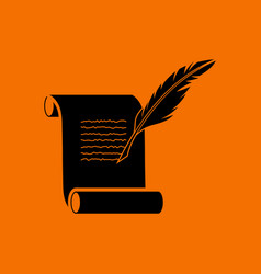 feather and scroll icon vector image vector image