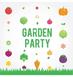 Garden party poster with vegetables icons set vector image