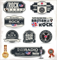 Rock radio stamps and labels vector image
