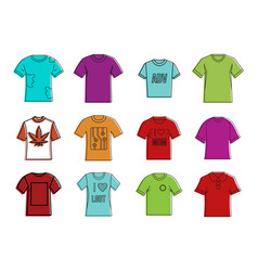 tshirt icon set color outline style vector image vector image