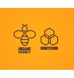 bee logo and honeycombs label on yellow background vector image vector image