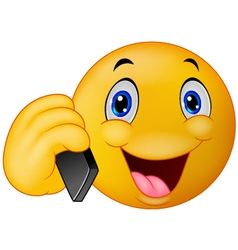 Emoticon smiley talking on cell phone vector image vector image