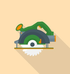 flat style electric hand circular saw icon with vector image vector image