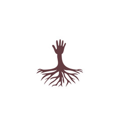 hand and root logo vector image