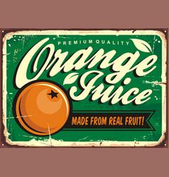 orange juice vintage tin sign vector image