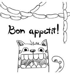 Sketchy cat with sausages bon appetit vector image