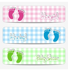 Baby shower banners with footprints vector image
