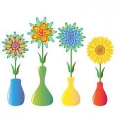 flowers in vases vector image vector image