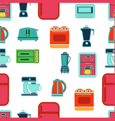 kitchen appliances seamless pattern in flat vector image vector image